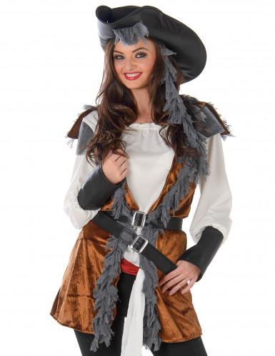Déguisement Pirate avec gilet femme-1