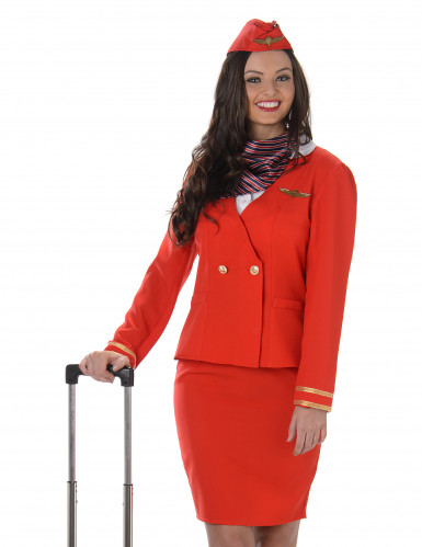 Déguisement Hôtesse de l'air rouge femme-1