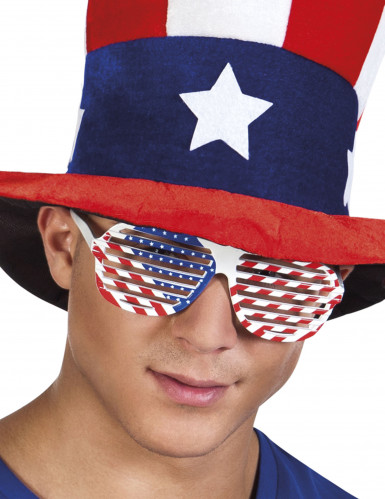 Lunettes blanches drapeau USA adulte