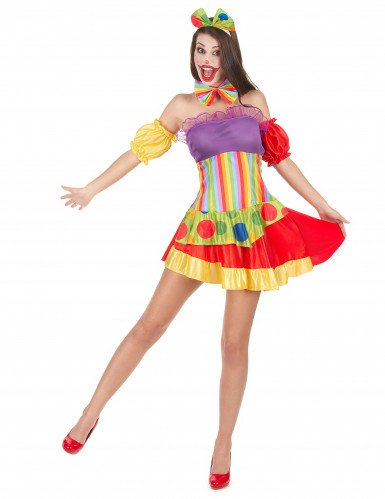 Déguisement clown bariolé femme