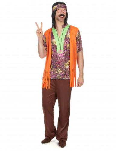 Déguisement hippie rose et marron homme