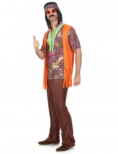 Déguisement hippie rose et marron homme-1