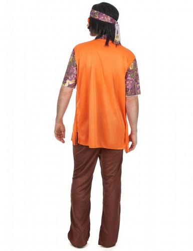 Déguisement hippie rose et marron homme-2