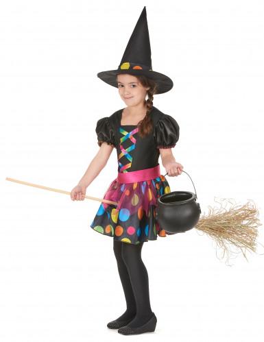 Déguisement sorcière à pois colorés fille-1