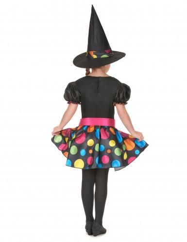 Déguisement sorcière à pois colorés fille-2