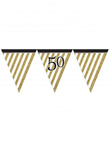 Guirlande à fanions noir et or 50 ans 3,7m