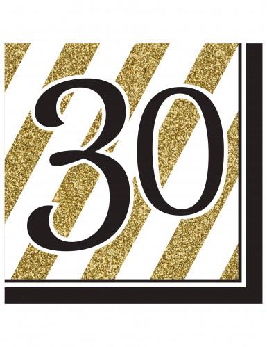 16 Serviettes en papier 30 ans noires et dorées 33 x 33 cm