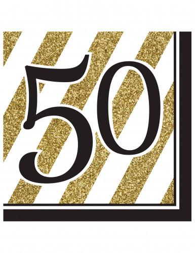 16 Serviettes en papier 50 ans noires et dorées 33 x 33 cm