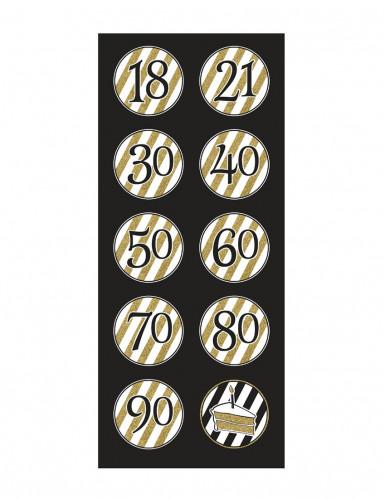 5 Suspensions en spirales anniversaire noires et dorées 80 cm-1