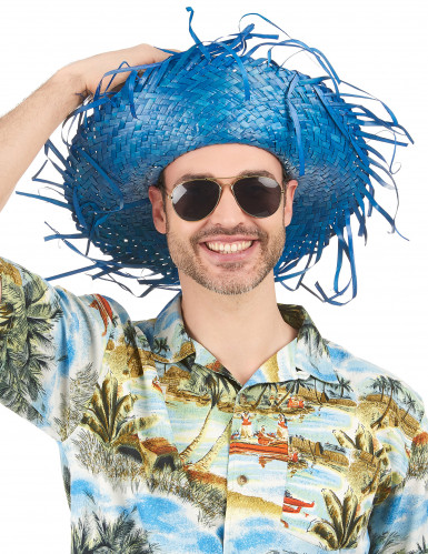 Chapeau Hawaï bleu adulte-1