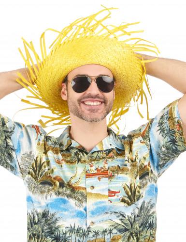 Chapeau Hawaï jaune adulte-1