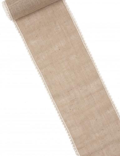 Chemin de table en jute et dentelle 20 cm x 5 m