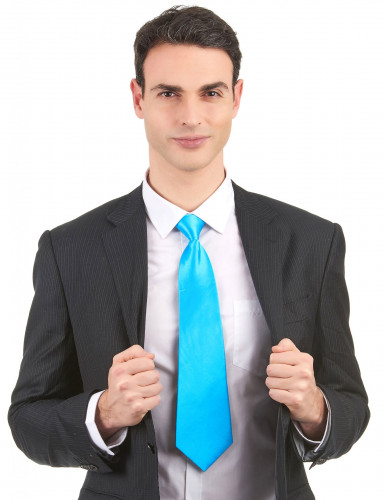 Cravate bleue fluo adulte