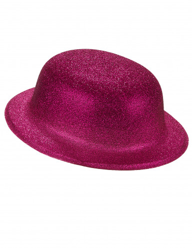 Chapeau melon pailleté fuschia adulte