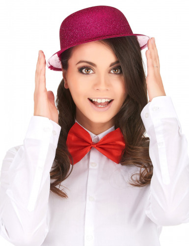 Chapeau melon pailleté fuschia adulte-1