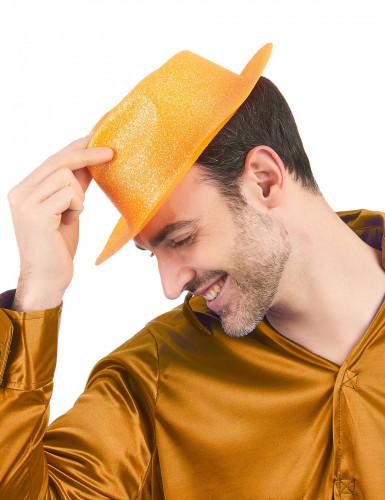 Chapeau pailleté orange adulte-1