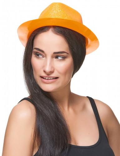 Chapeau pailleté orange adulte-2