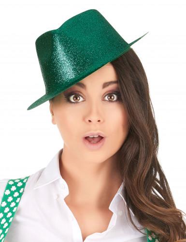 Chapeau pailleté vert adulte-1