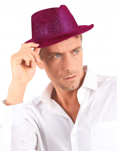 Chapeau pailleté fuschia adulte-2