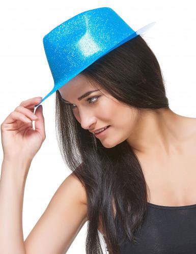 Chapeau pailleté turquoise adulte-2