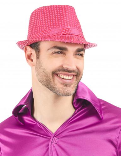 Chapeau borsalino à sequins rose fluo adulte-1