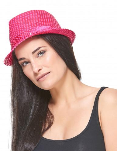 Chapeau borsalino à sequins rose fluo adulte-2