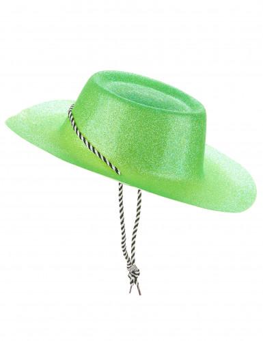 Chapeau cowgirl vert à paillettes adulte