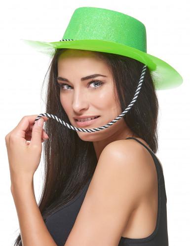 Chapeau cowgirl vert à paillettes adulte-1