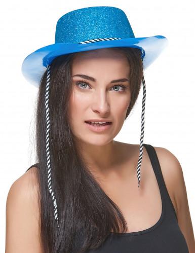 Chapeau cowgirl bleu à paillettes adulte-1