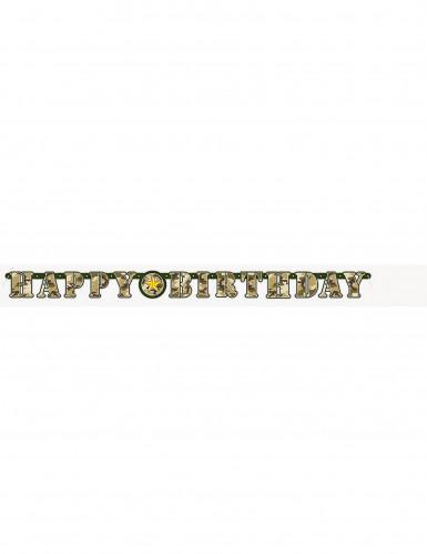 Guirlande articulée Happy Birthday militaire 1.6 mètres-1