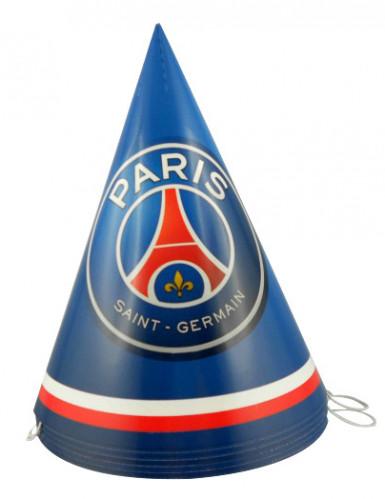 6 Chapeaux de fête en carton PSG™ 16 cm