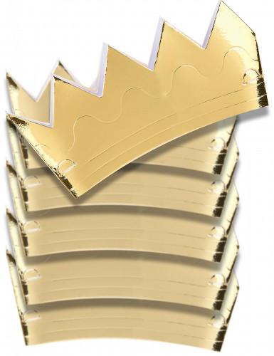 6 Couronnes dorées en carton
