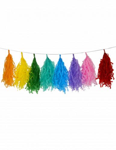 Guirlande tassel 16 pompons multicolores