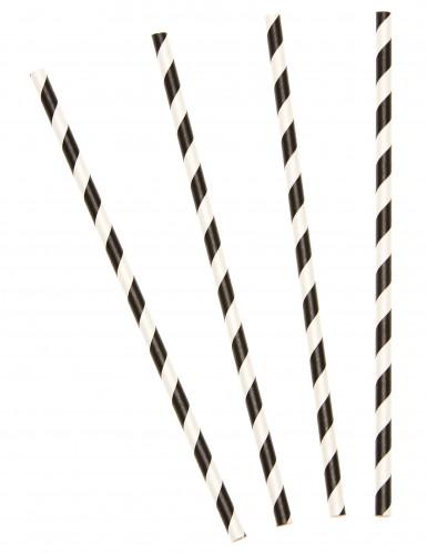 10 Pailles en carton rayées noires 19,5 cm