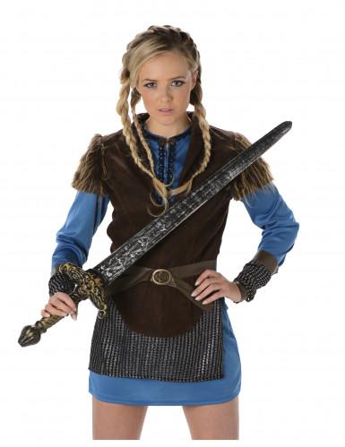 Déguisement viking bleu femme-1