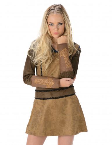 Déguisement viking marron femme-1
