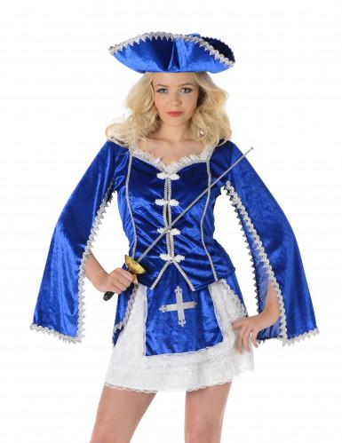 Déguisement mousquetaire bleu femme-1