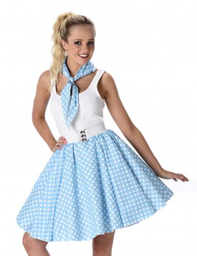 Déguisement années 50 bleu clair à pois femme-1