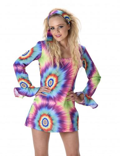 Déguisement robe hippie psychédélique femme-1