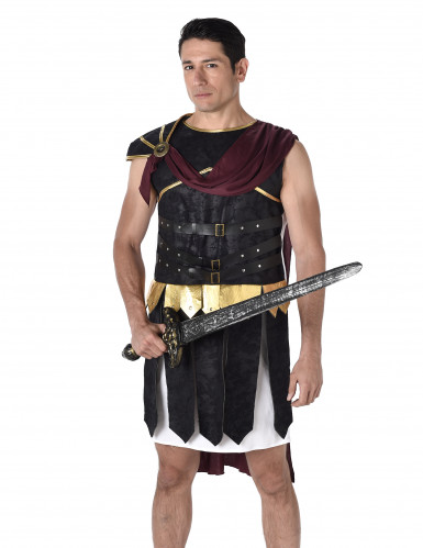Déguisement gladiateur Romain noire et doré homme-1