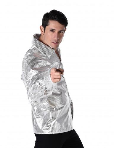 Chemise disco brillante argent homme-1