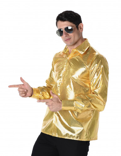 Chemise disco à sequins dorés homme-1