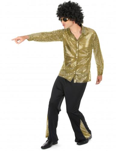 Déguisement disco doré à paillettes homme-1