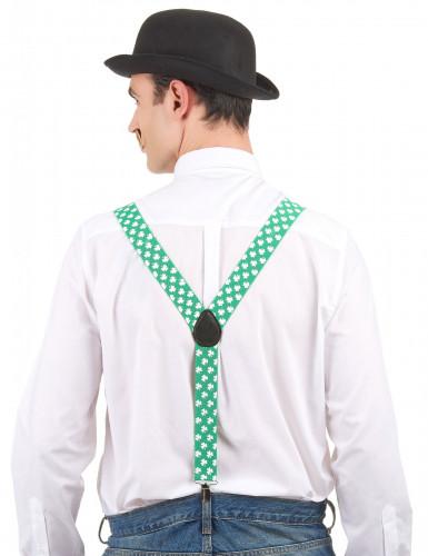 Bretelles vertes avec trèfles blancs Saint Patrick-1