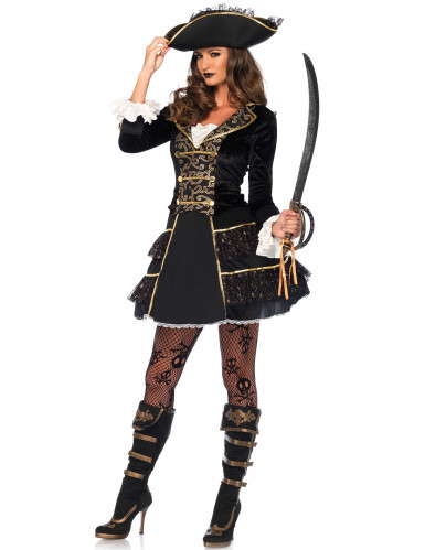 Déguisement capitaine pirate noir et or femme