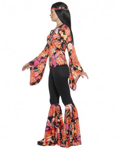Déguisement hippie noir et multicolore femme-1
