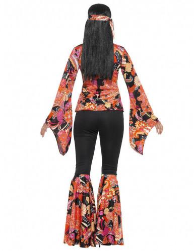 Déguisement hippie noir et multicolore femme-2