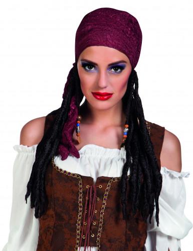 Perruque pirate avec bandana bordeaux femme