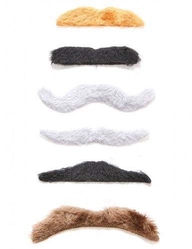 Lot 6 moustaches adhésives adulte
