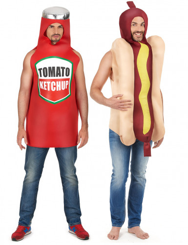 Déguisement de couple hot dog et ketchup adulte